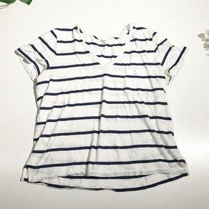 Madewell Navy Striped V Neck Shirt 100% Cotton XL